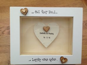 Shabby Personalised Chic Box Frame Gift Bride & Groom Wedding Present